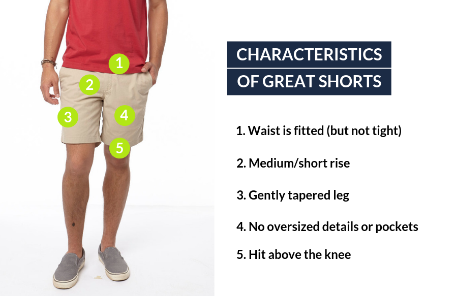 shorts 2 inches above the knee