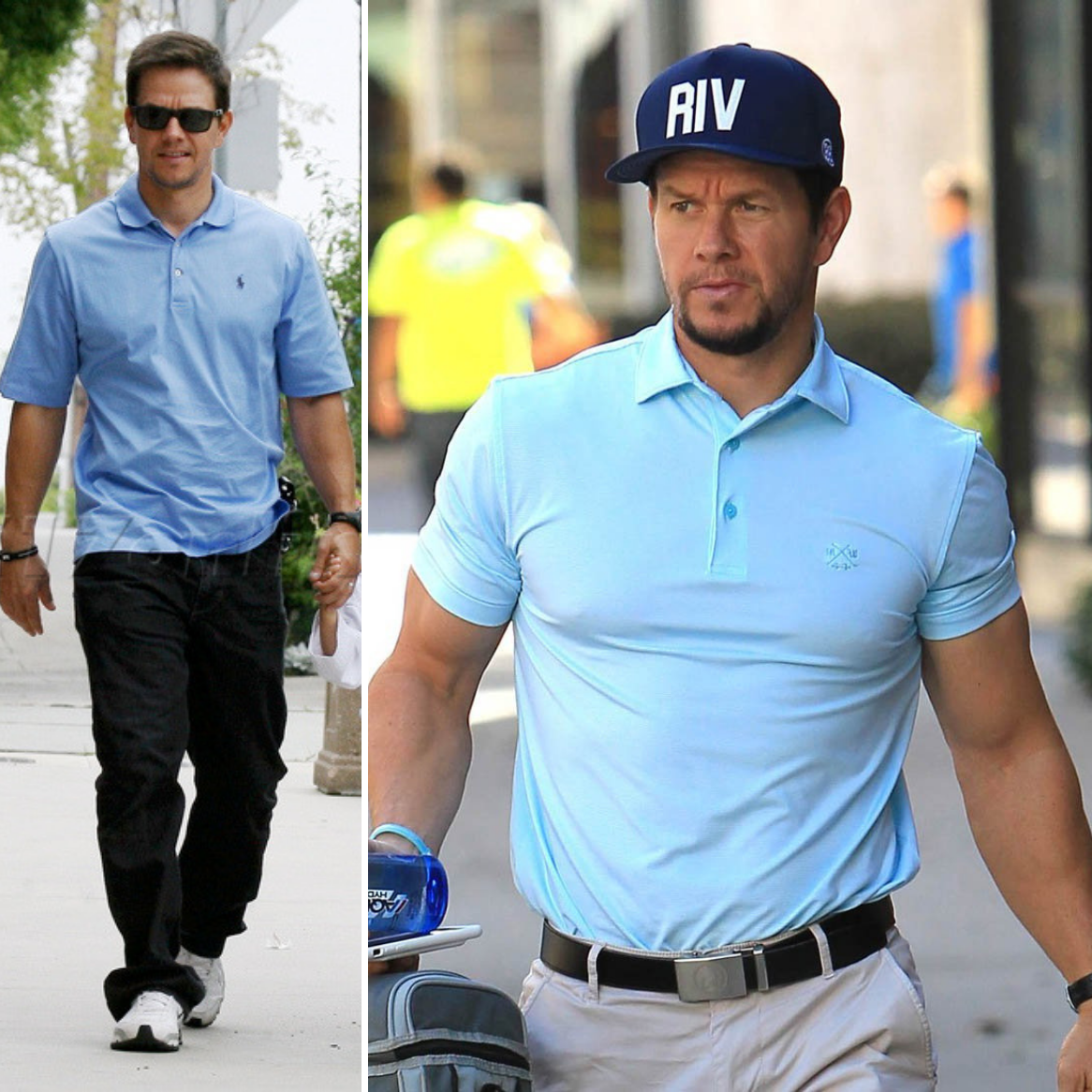 Mark Wahlberg wearing polo shirt