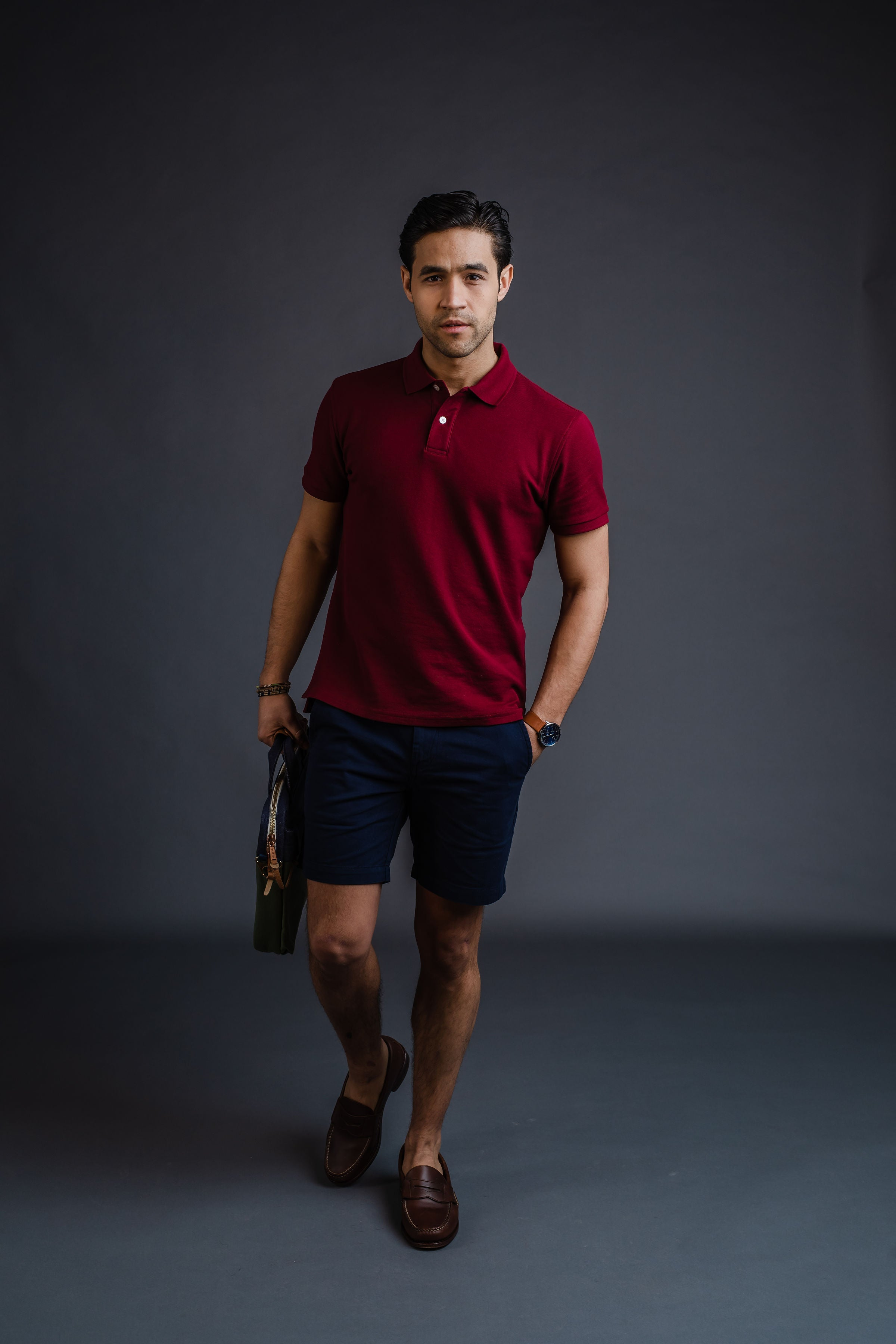 Polo with shorts and loafers