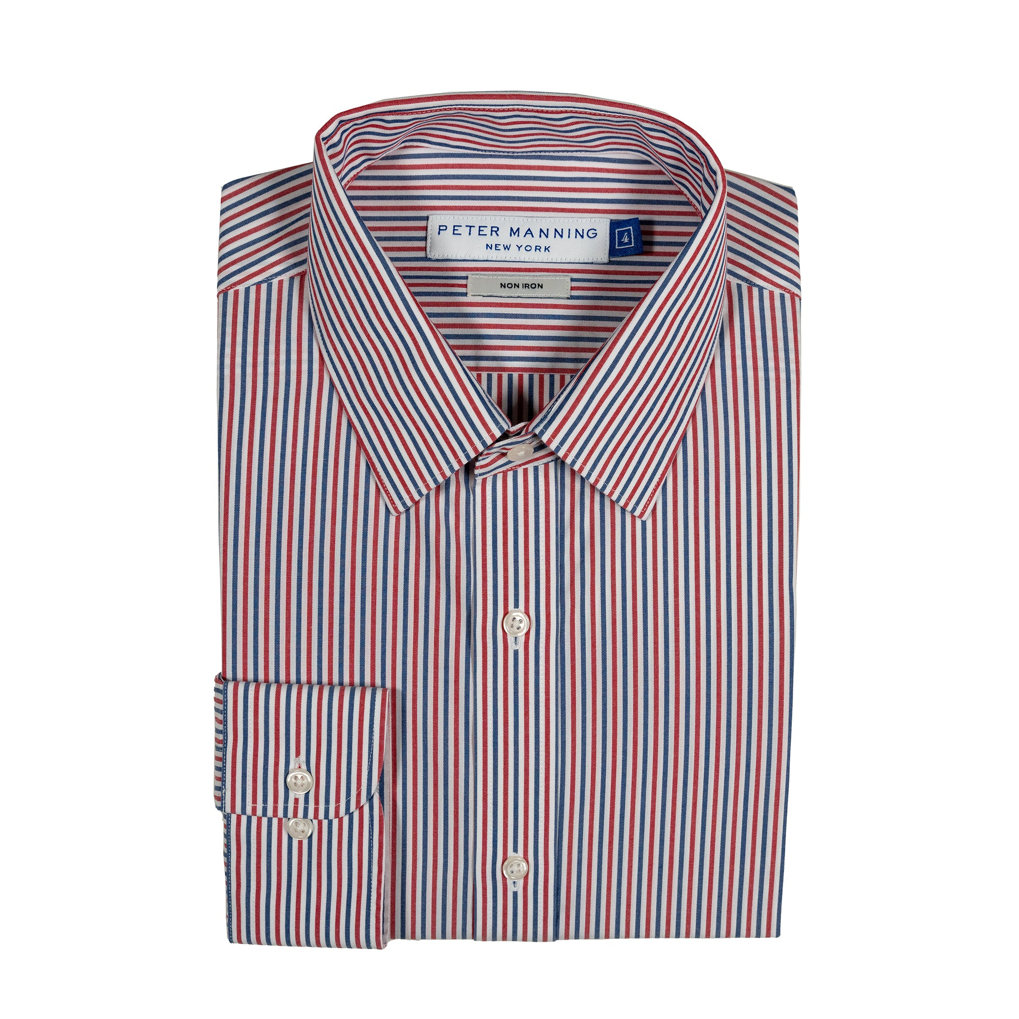 Easy Care Dress Shirt Standard Fit - Red Navy Stripe