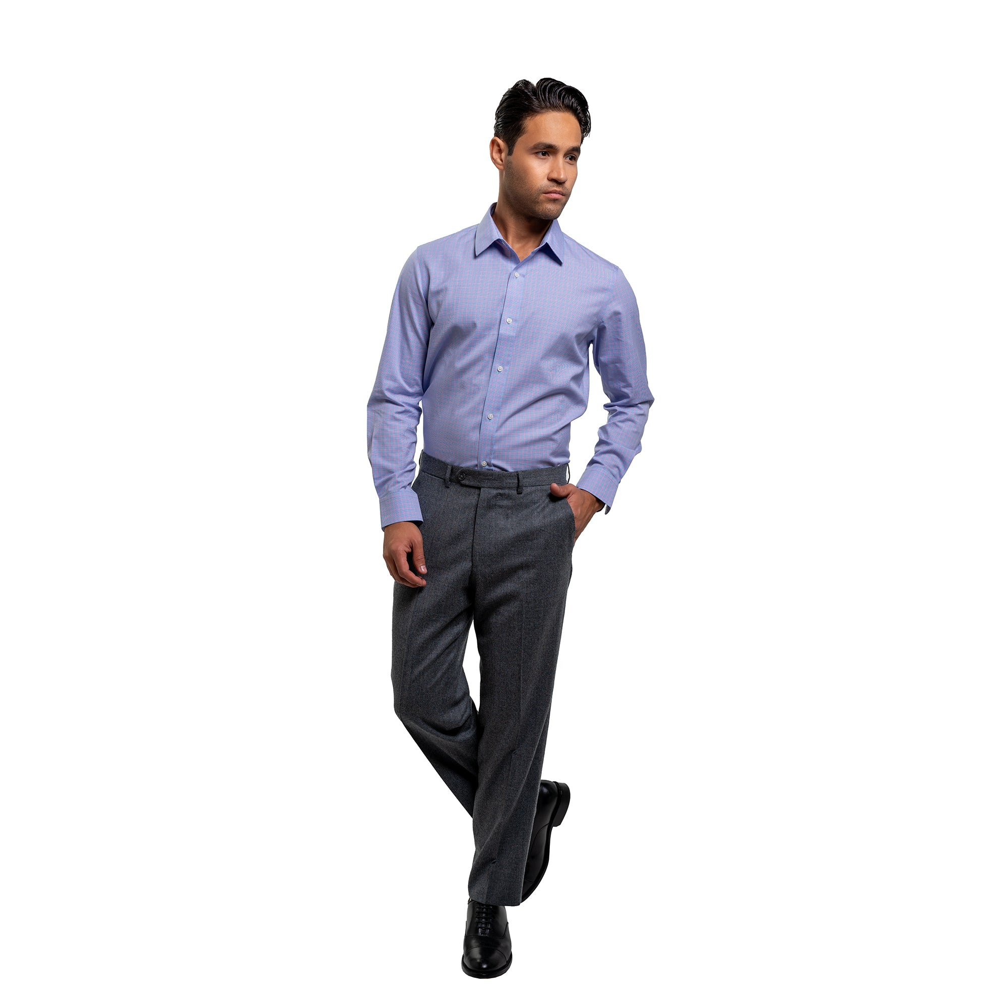 Easy Care Dress Shirt Standard Fit - Blue Pink Tattersall