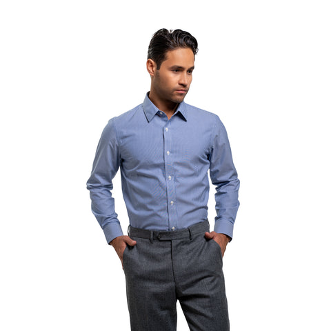 Easy Care Dress Shirt Standard Fit - Navy Stripe