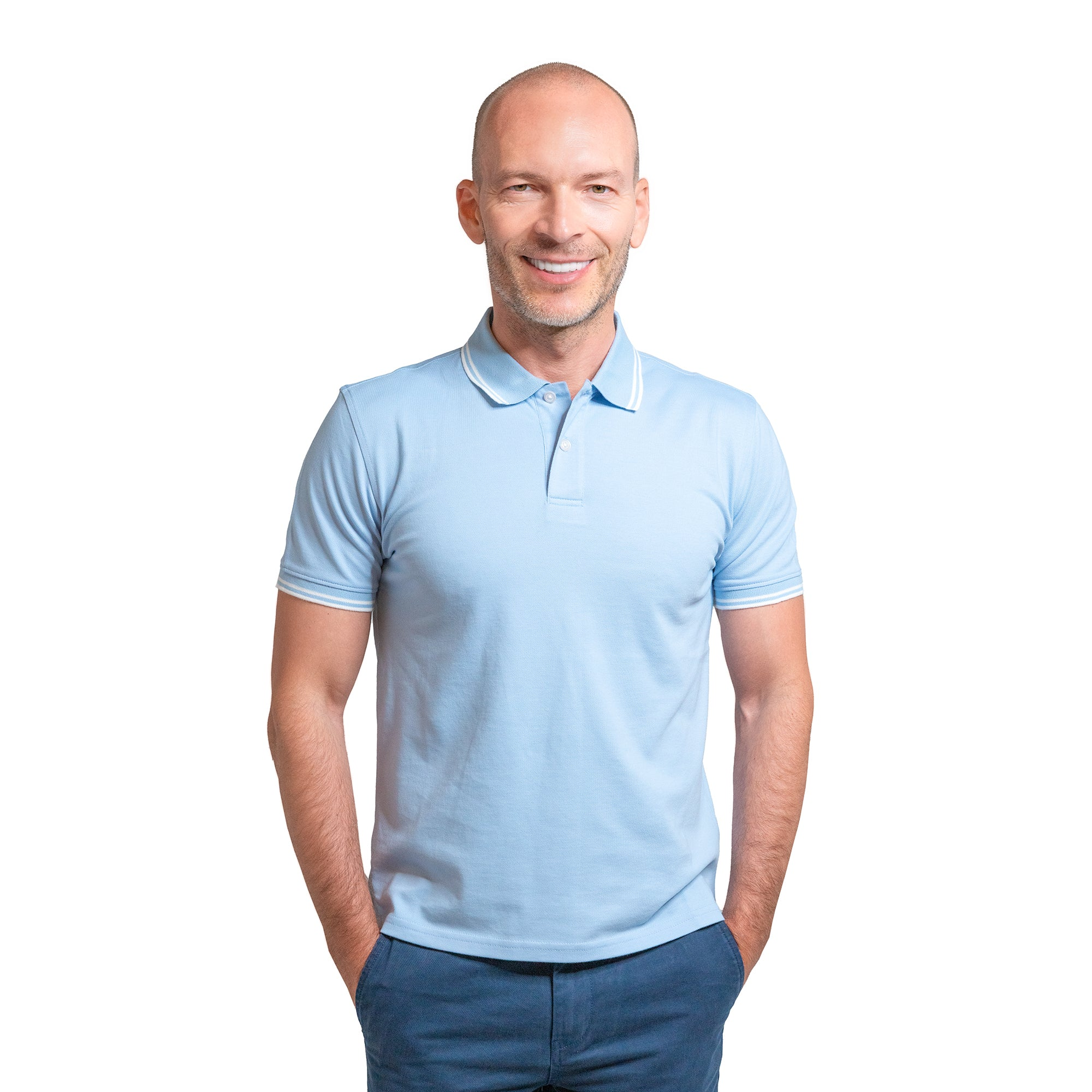 James Polo Shirt - Pale Blue Tipped
