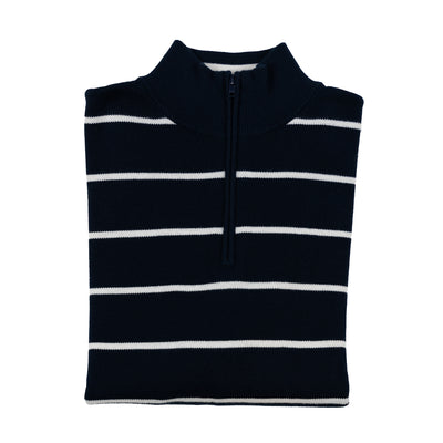 Cotton Quarter Zip Sweaters - Navy Stripe