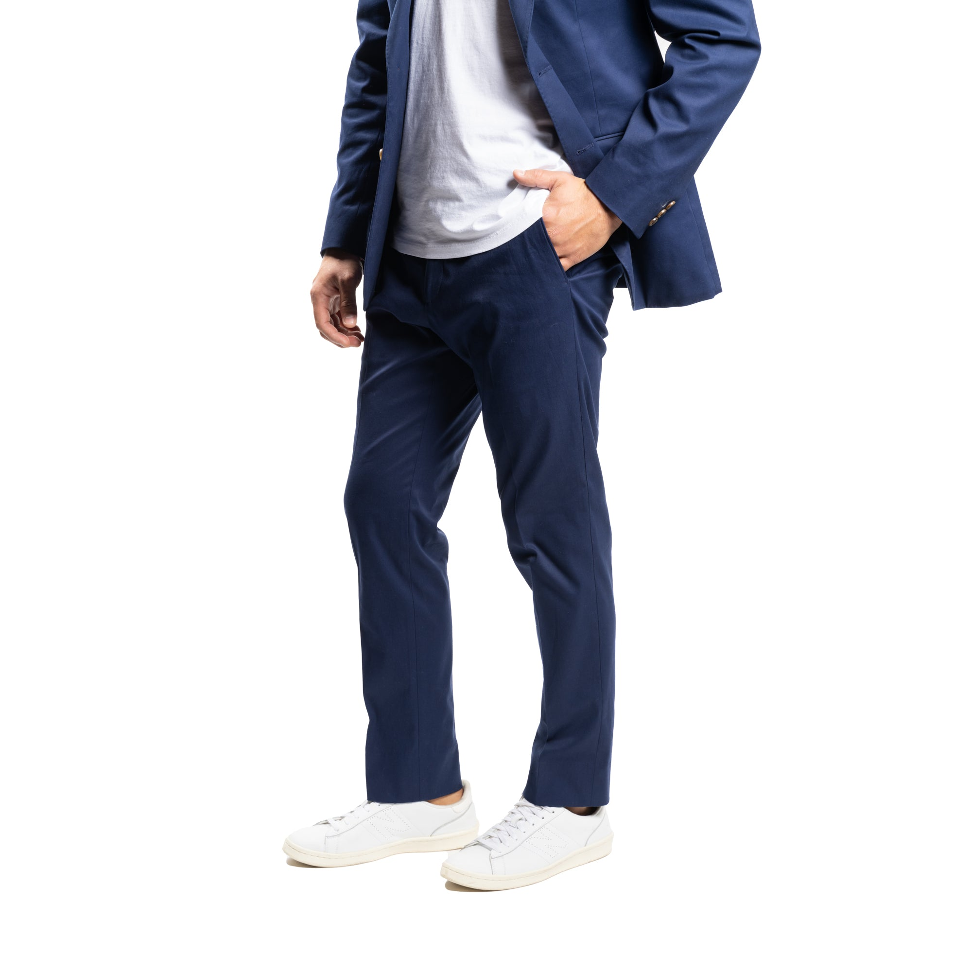Stretch Cotton Pants - Navy
