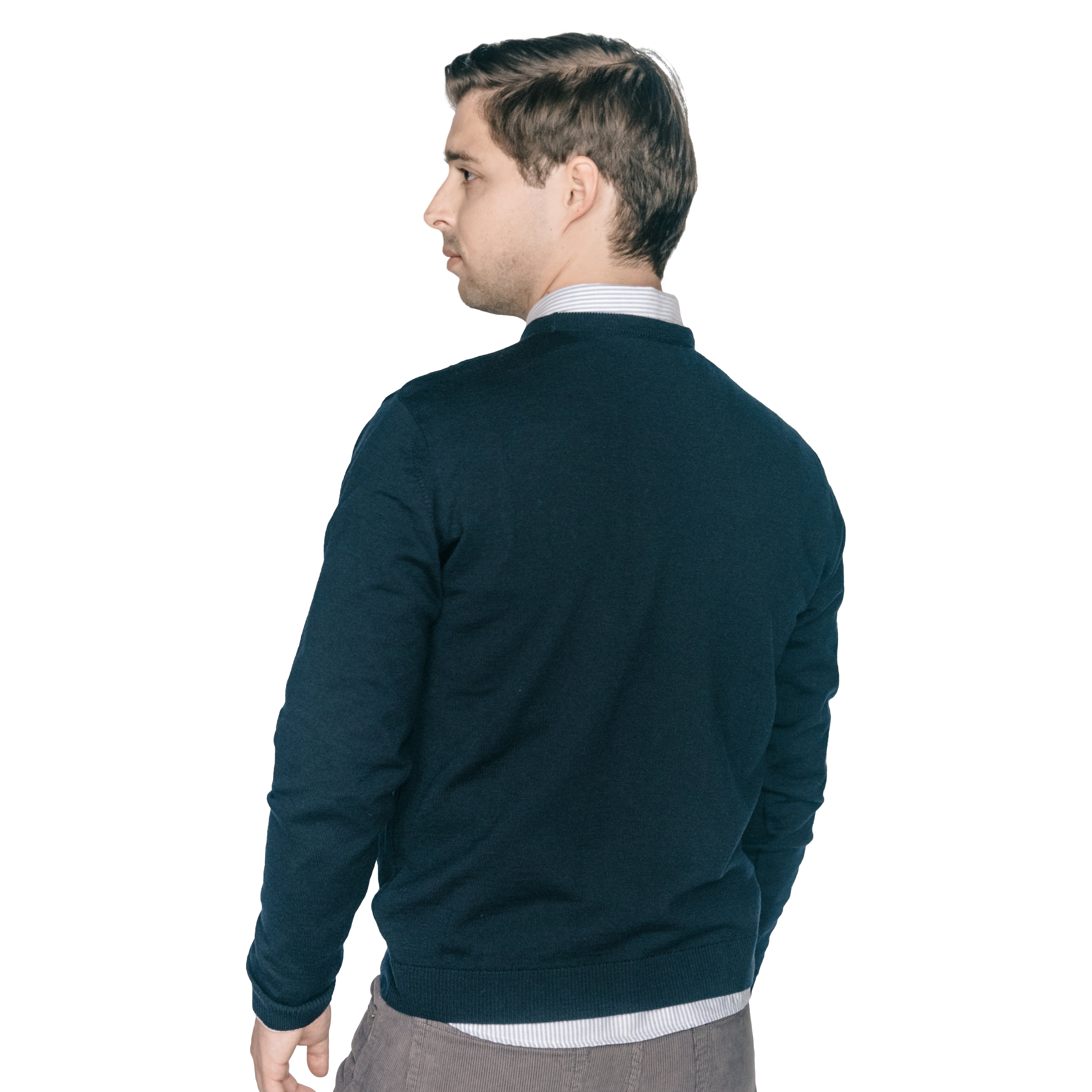 Zegna Merino Wool Crew Neck Sweaters - Navy
