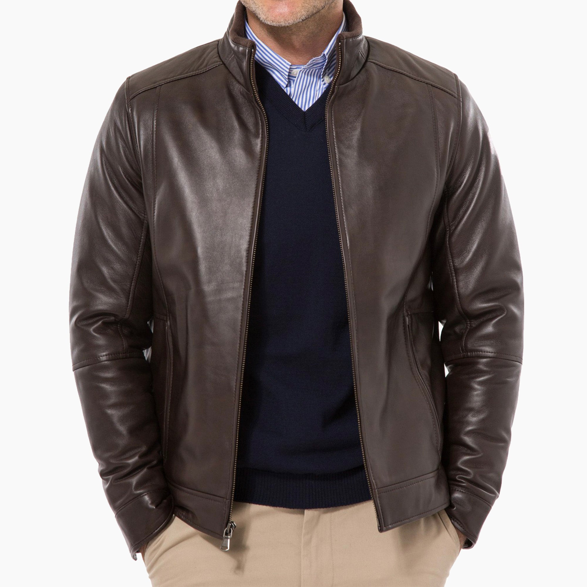 9d33f70f Lambskin Leather Jacket - Brown – Peter Manning NYC
