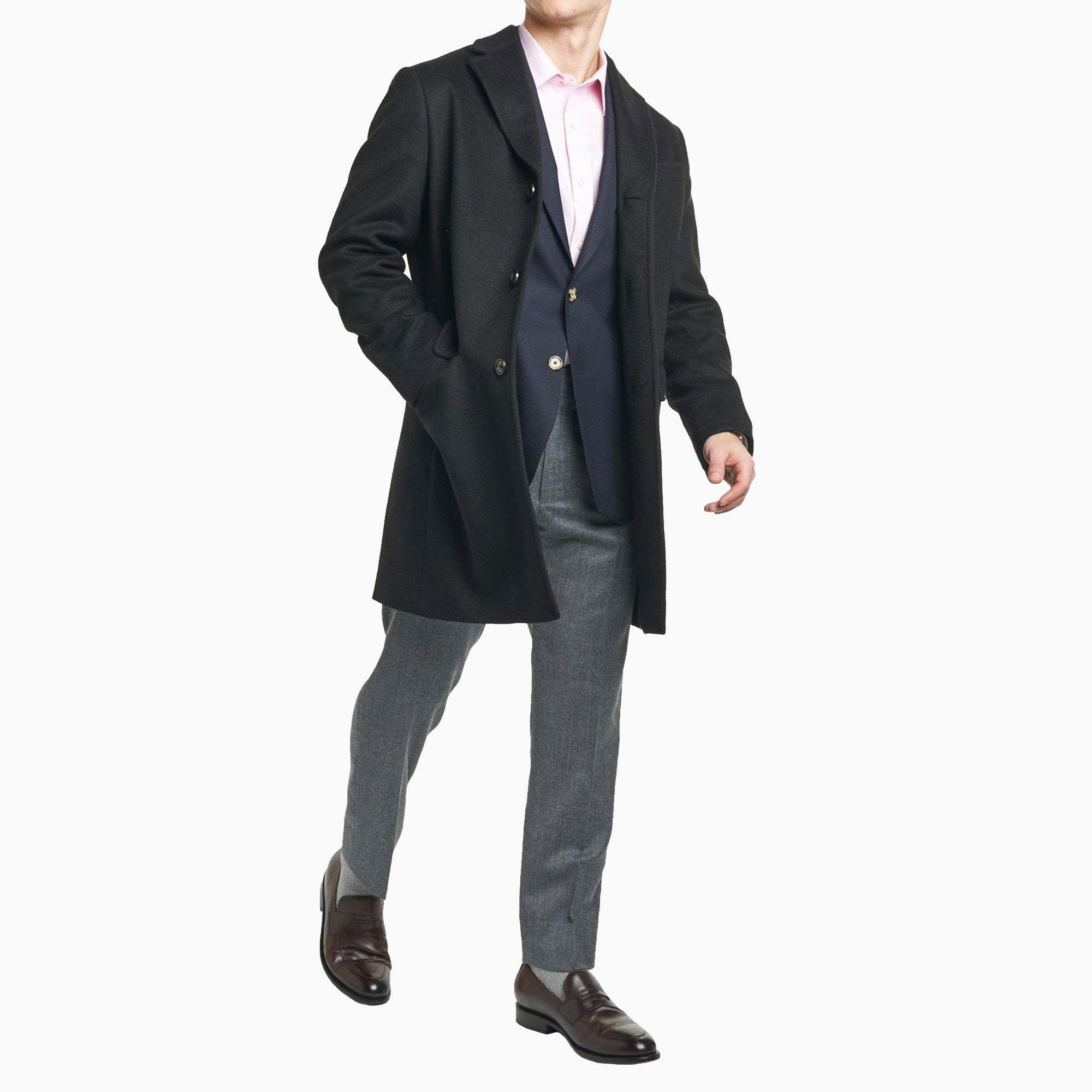 Fulton Wool Cashmere Topcoat - Black