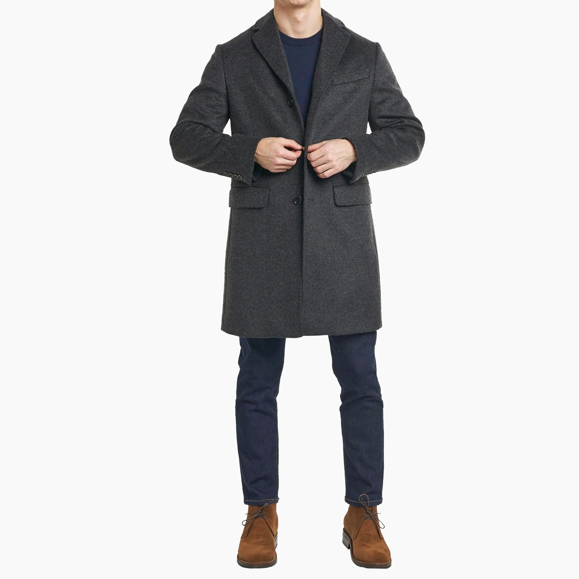 Fulton Wool Cashmere Topcoat - Charcoal