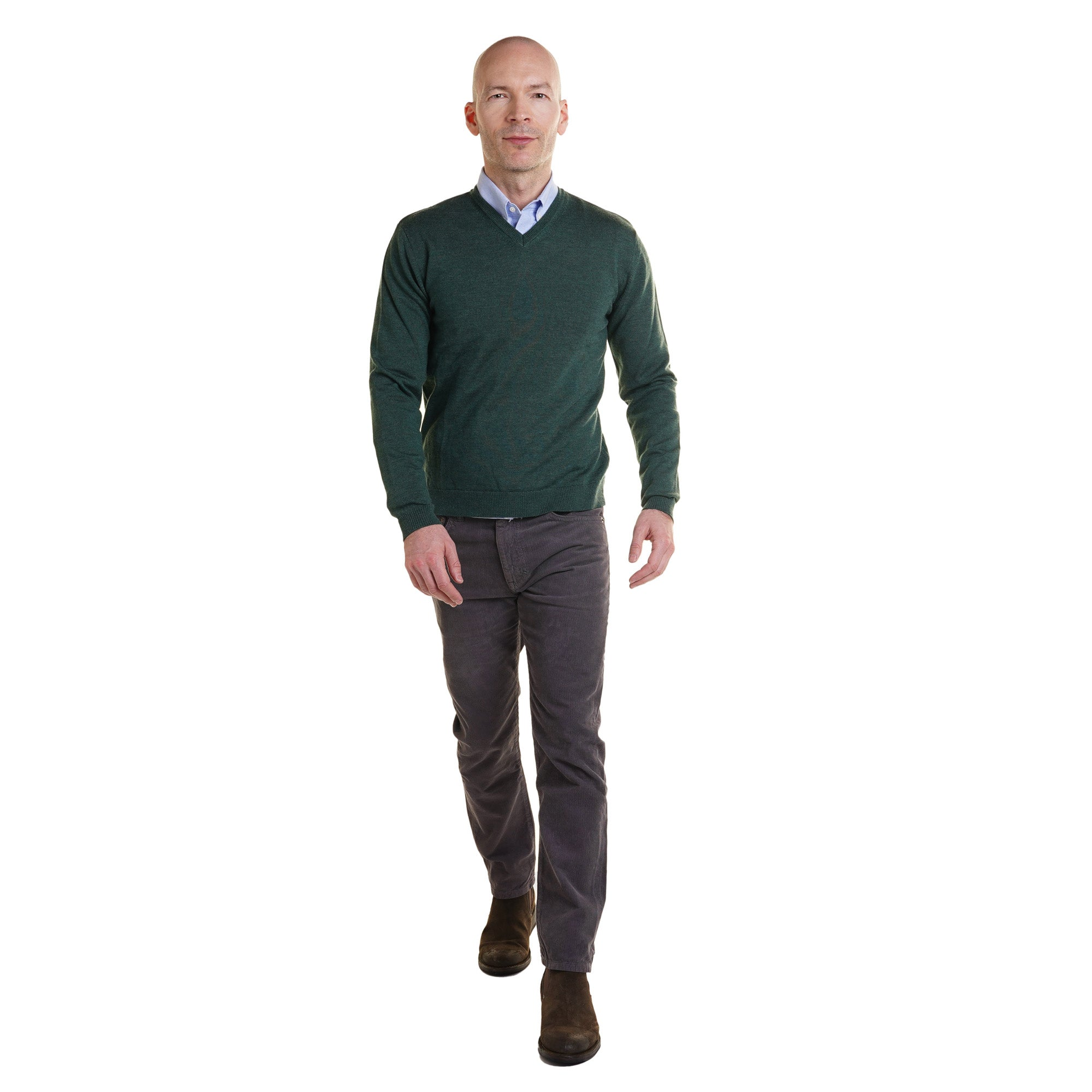 Zegna Merino Wool V Neck Sweaters - Hunter Green