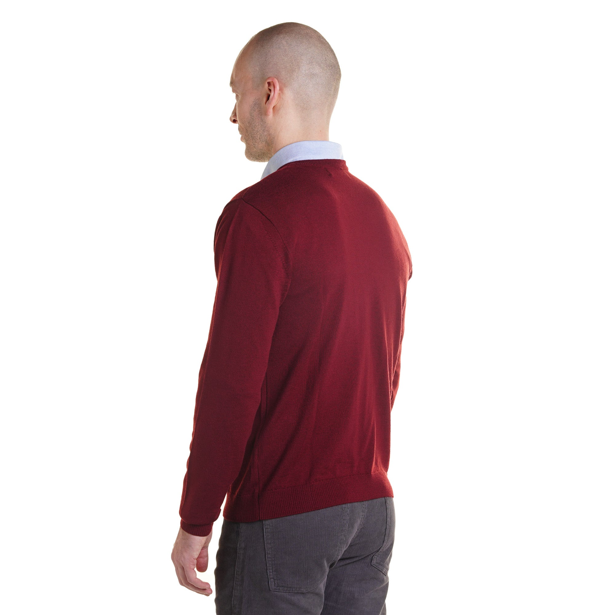 Zegna Merino Wool V Neck Sweaters - Burgundy