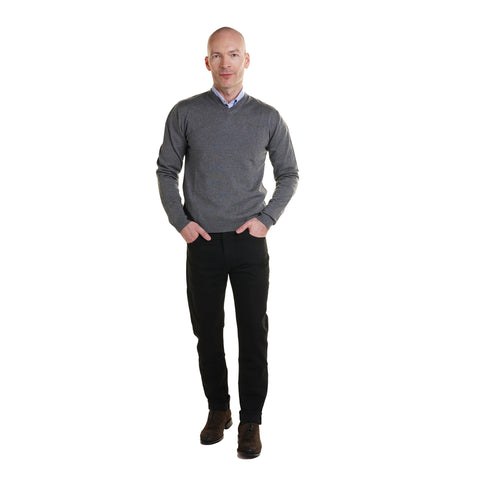 Zegna Merino Wool V Neck Sweaters - Grey