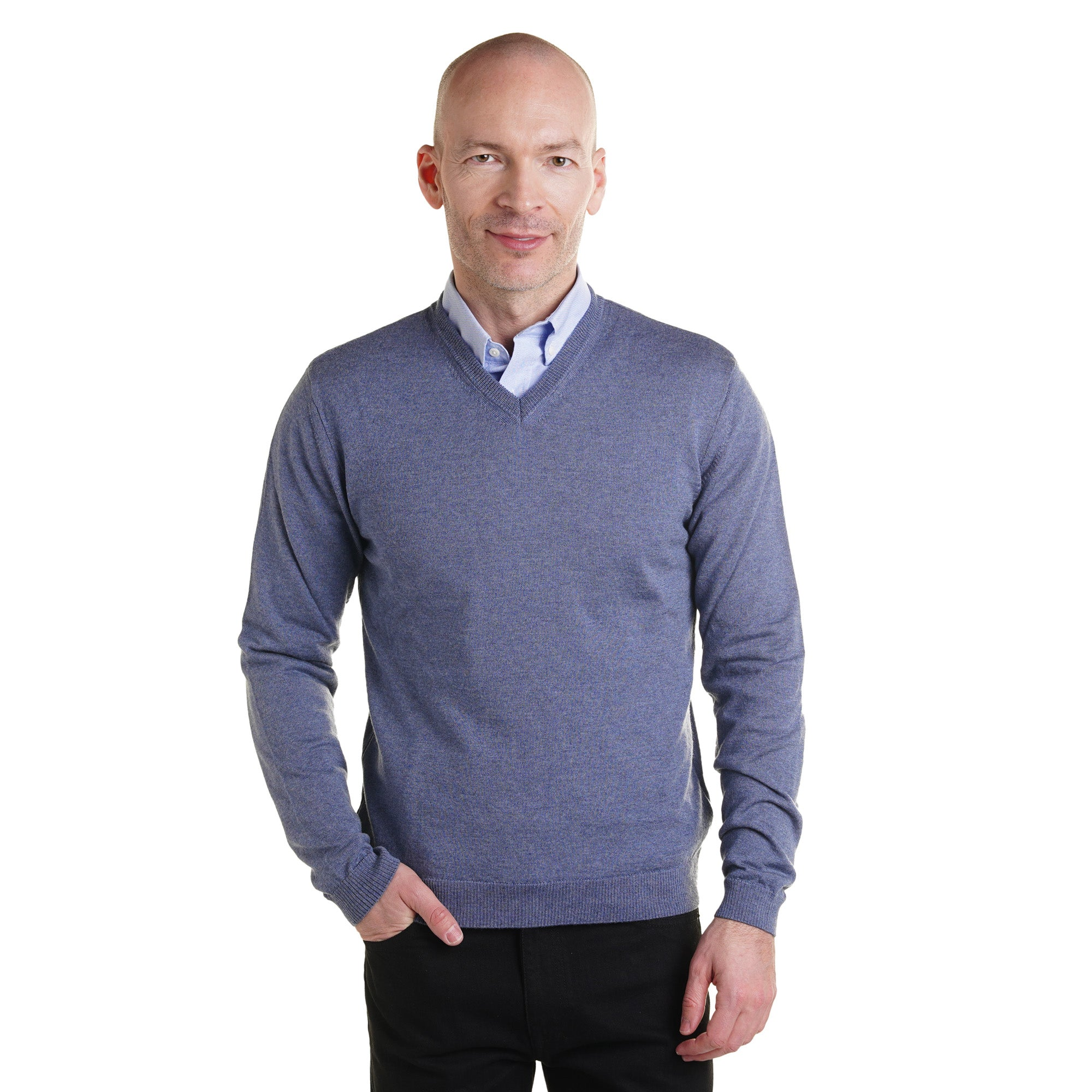 Zegna Merino Wool V Neck Sweaters - Slate Blue