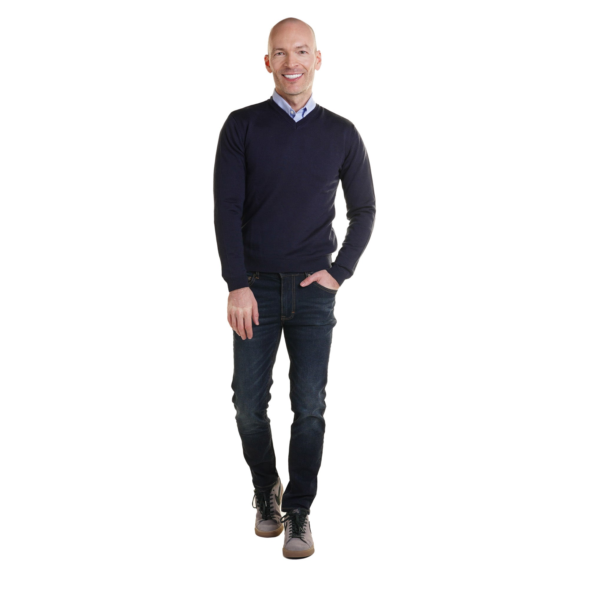 Zegna Merino Wool V Neck Sweaters - Navy