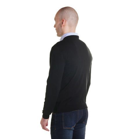Zegna Merino Wool V Neck Sweaters - Black