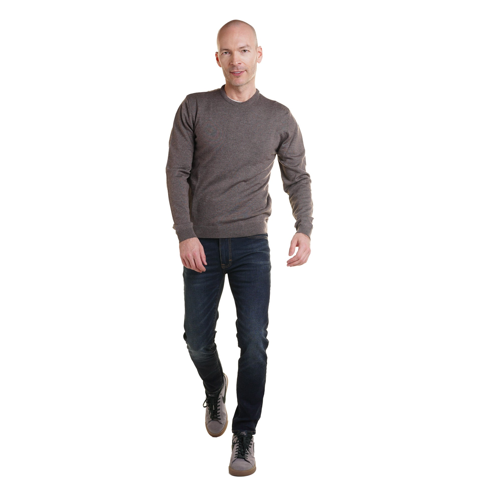 Zegna Merino Wool Crew Neck Sweaters - Heather Brown