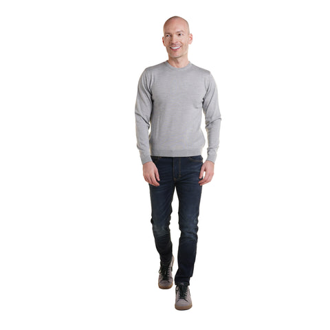Zegna Merino Wool Crew Neck Sweaters - Light Grey