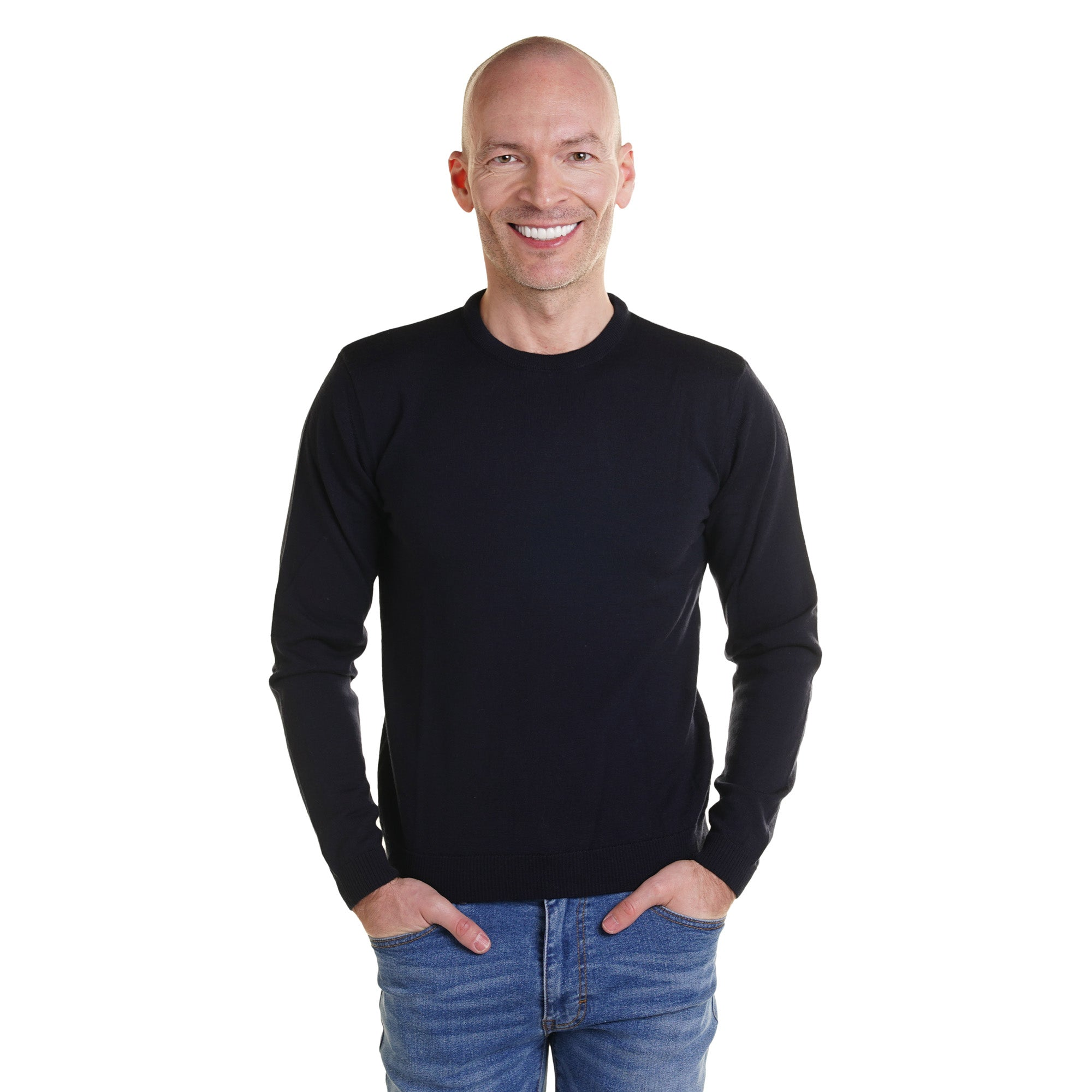 Zegna Merino Wool Crew Neck Sweaters - Black