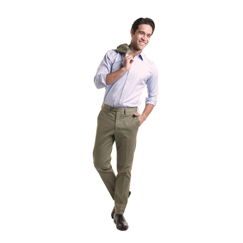 Slim Stretch Cotton Dress Pants - Olive