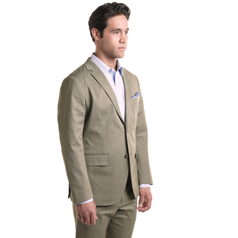 Slim Stretch Cotton Jacket - Olive