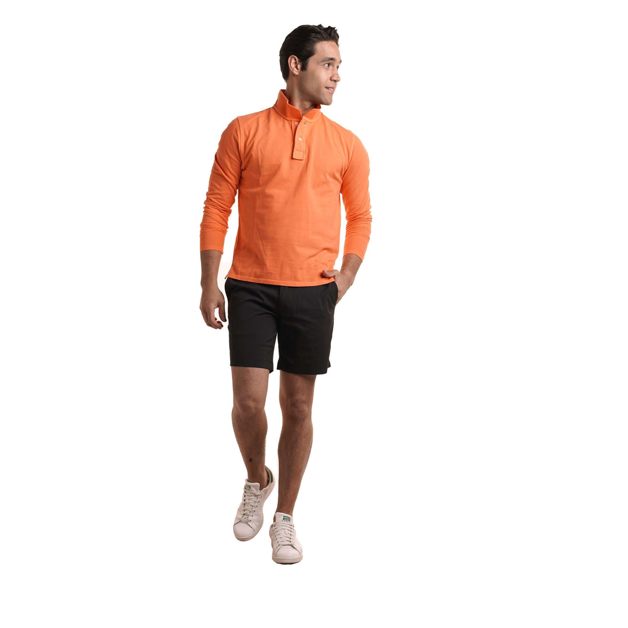 Long Sleeve Polo - Orange
