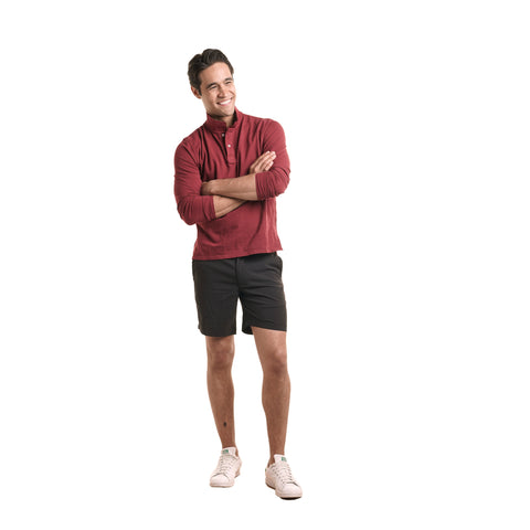Long Sleeve Polo - Burgundy