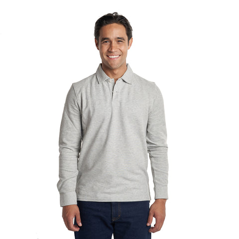 Original Long Sleeve Polo - Heather Grey