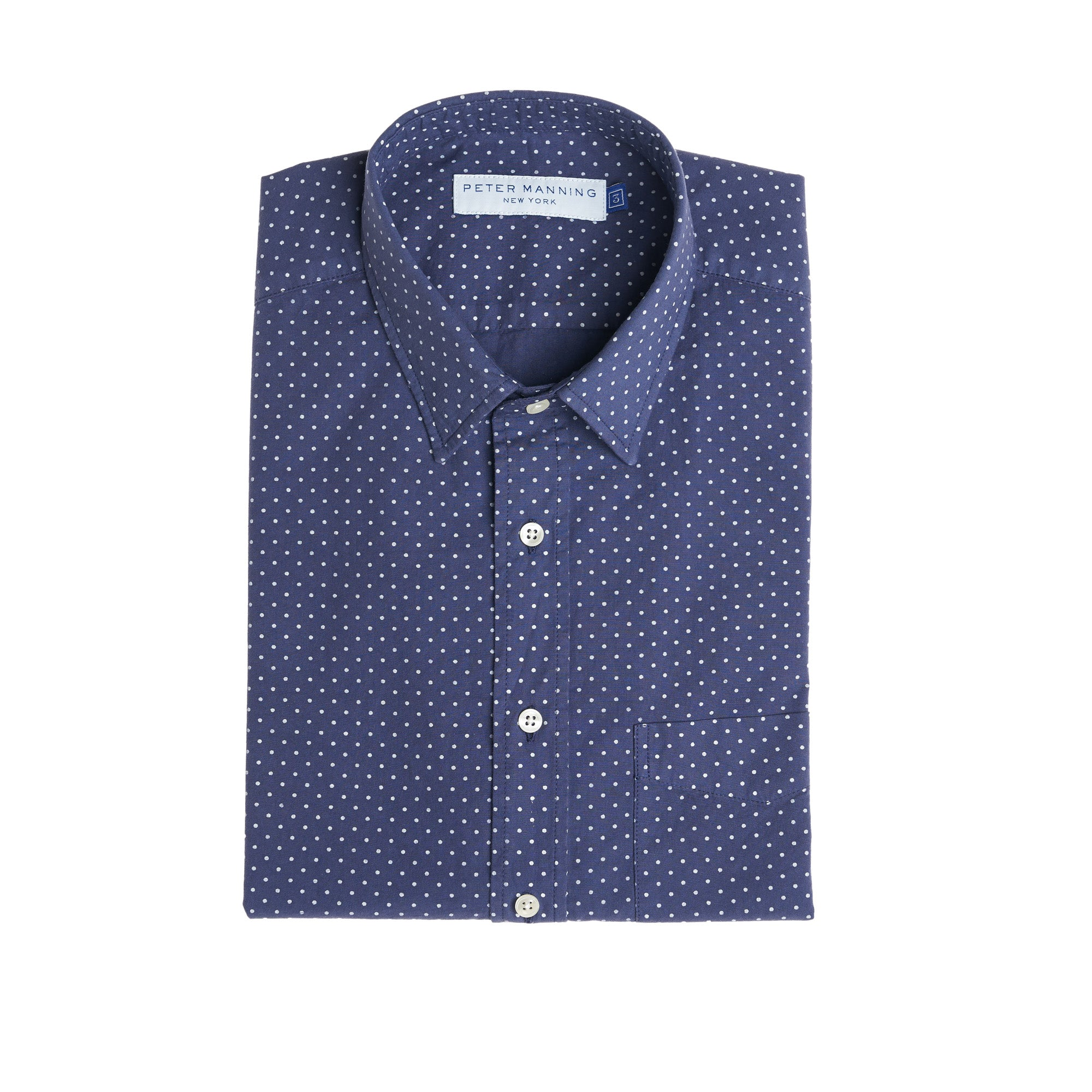 Weekend Printed Shirt - Navy Pindot