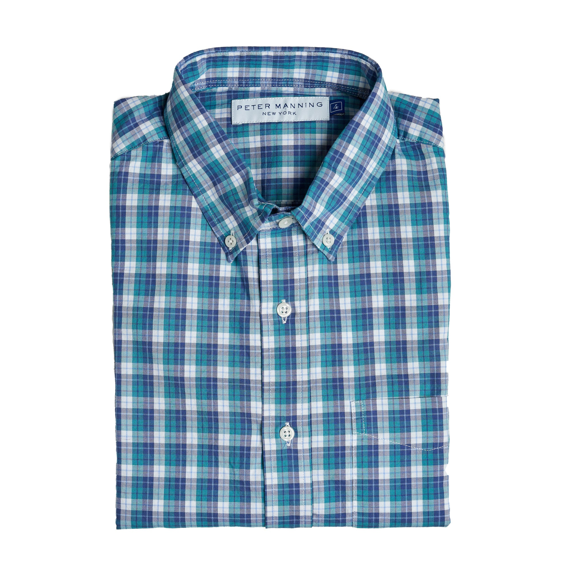 Everyday Oxford - Navy Aqua Tattersall