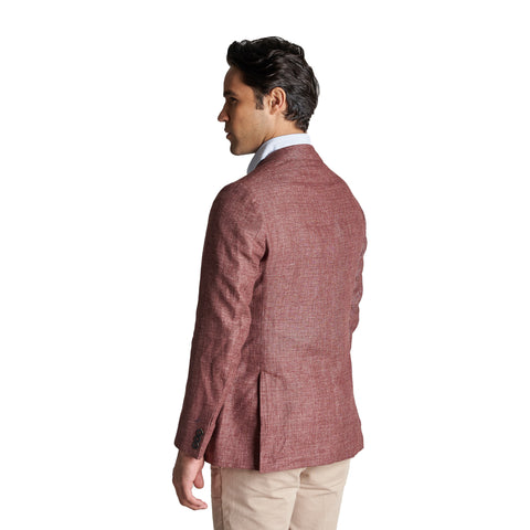 Unstructured Linen Jackets - Burgundy