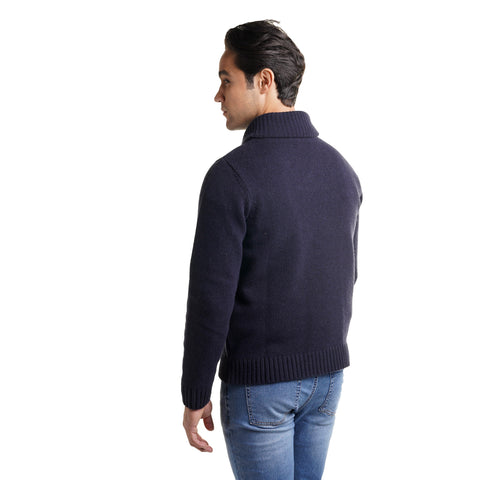 Wool Shawl Collar Sweaters - Navy