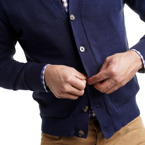 Cotton Cardigan Sweaters - Navy
