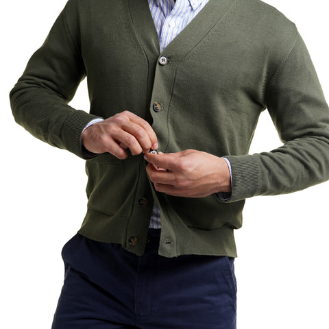 Cotton Cardigan Sweaters - Olive