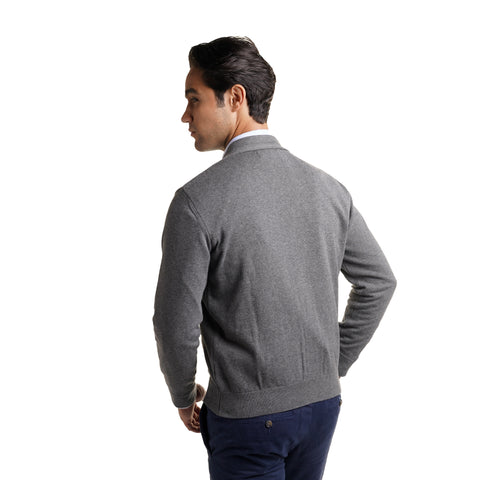 Cotton Cardigan Sweaters - Heather Grey