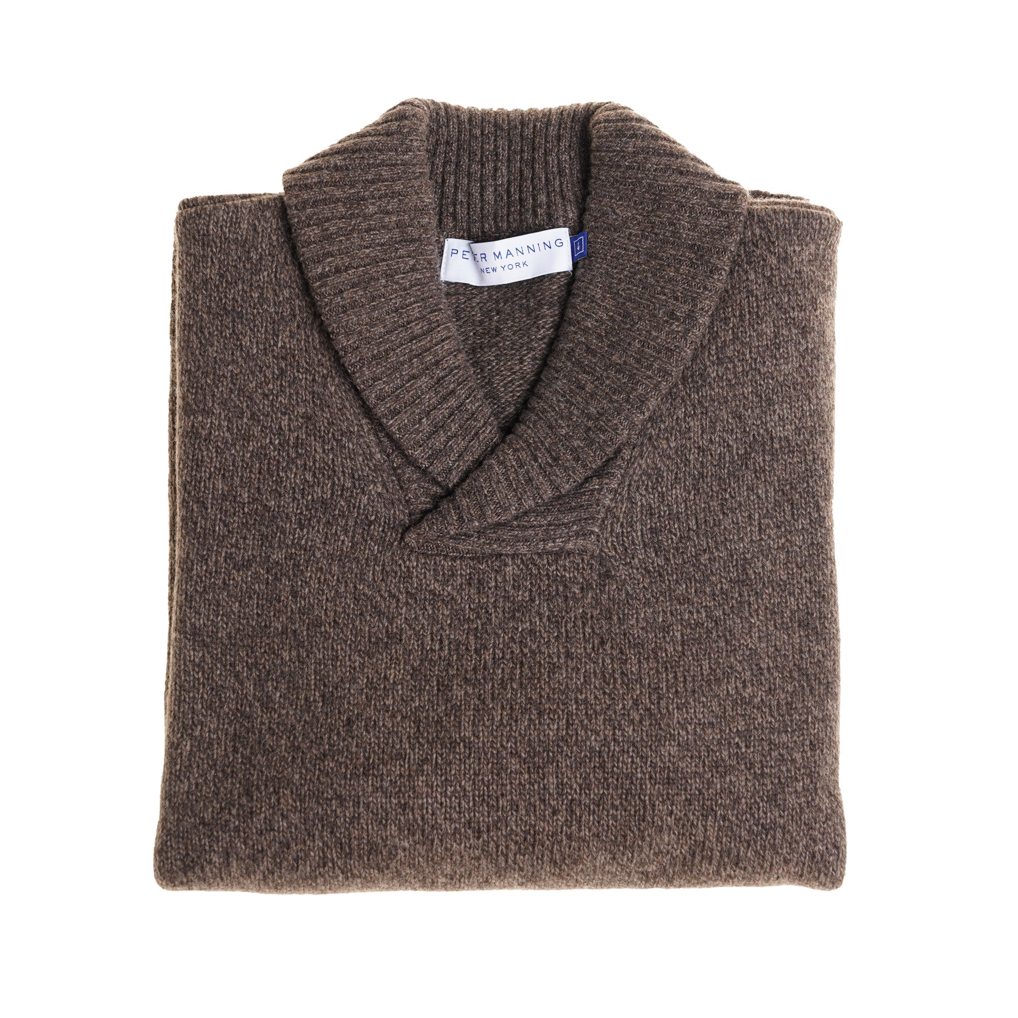 Wool Shawl Collar Sweaters - Brown