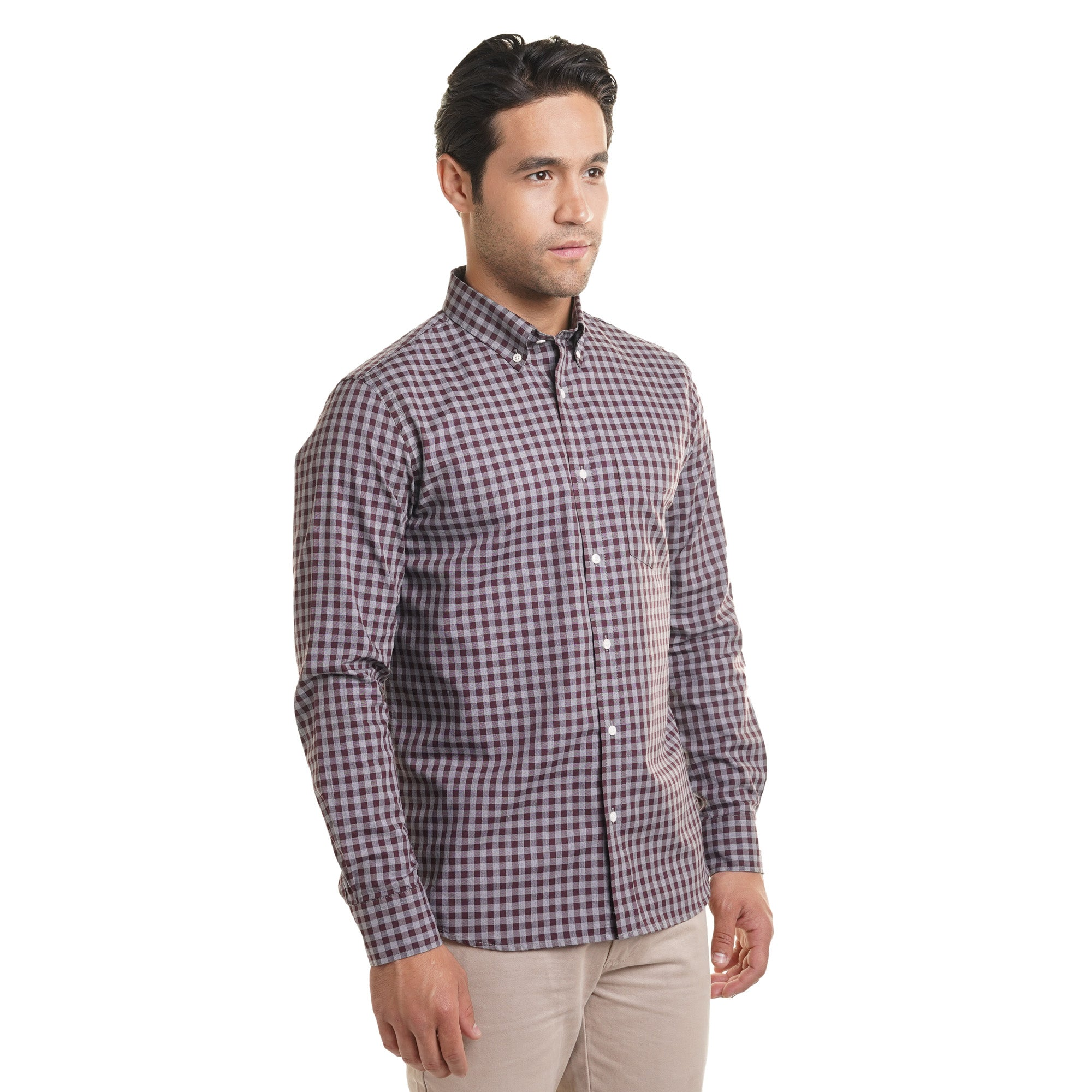 Everyday Oxford - Burgundy Grey Gingham