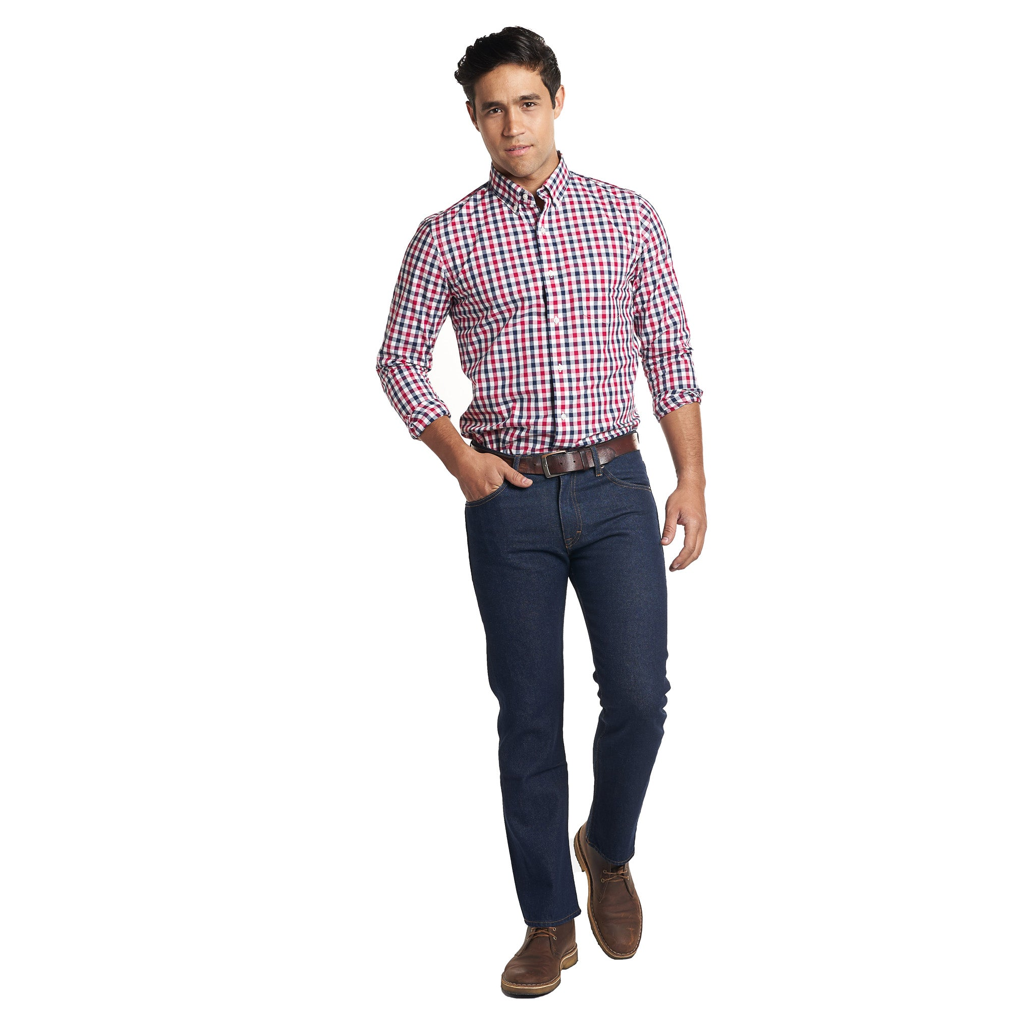 Everyday Shirt - Navy Red Gingham