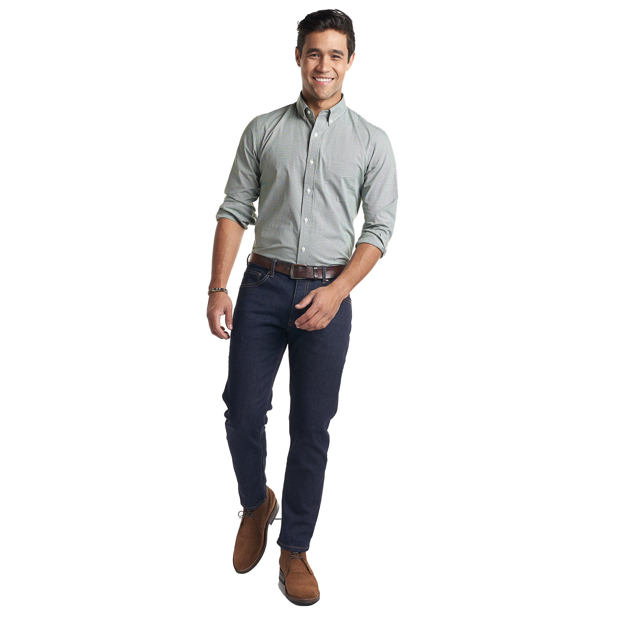 Everyday Shirt Standard Fit - Green Microcheck