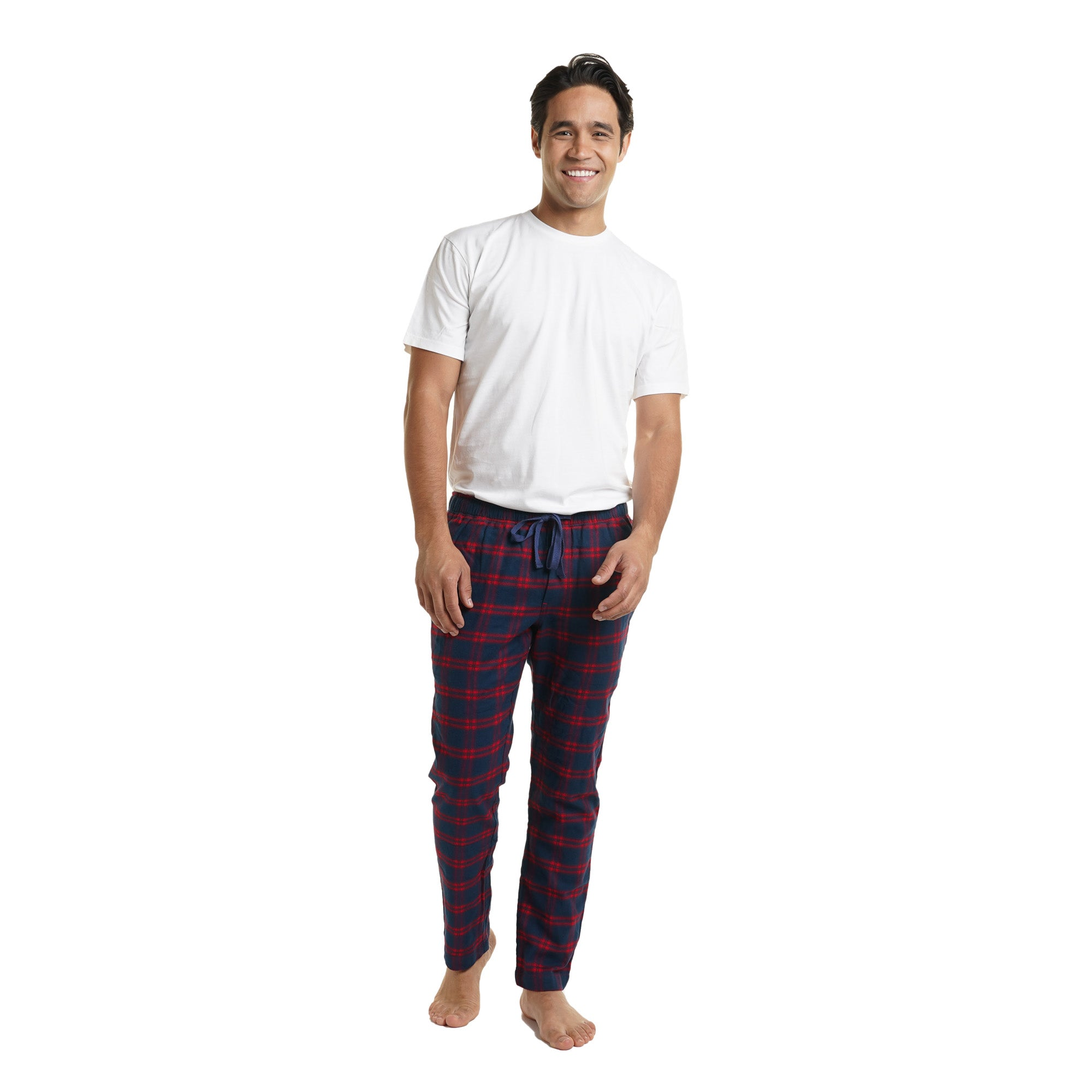 Pajama Pants - Navy Red Flannel