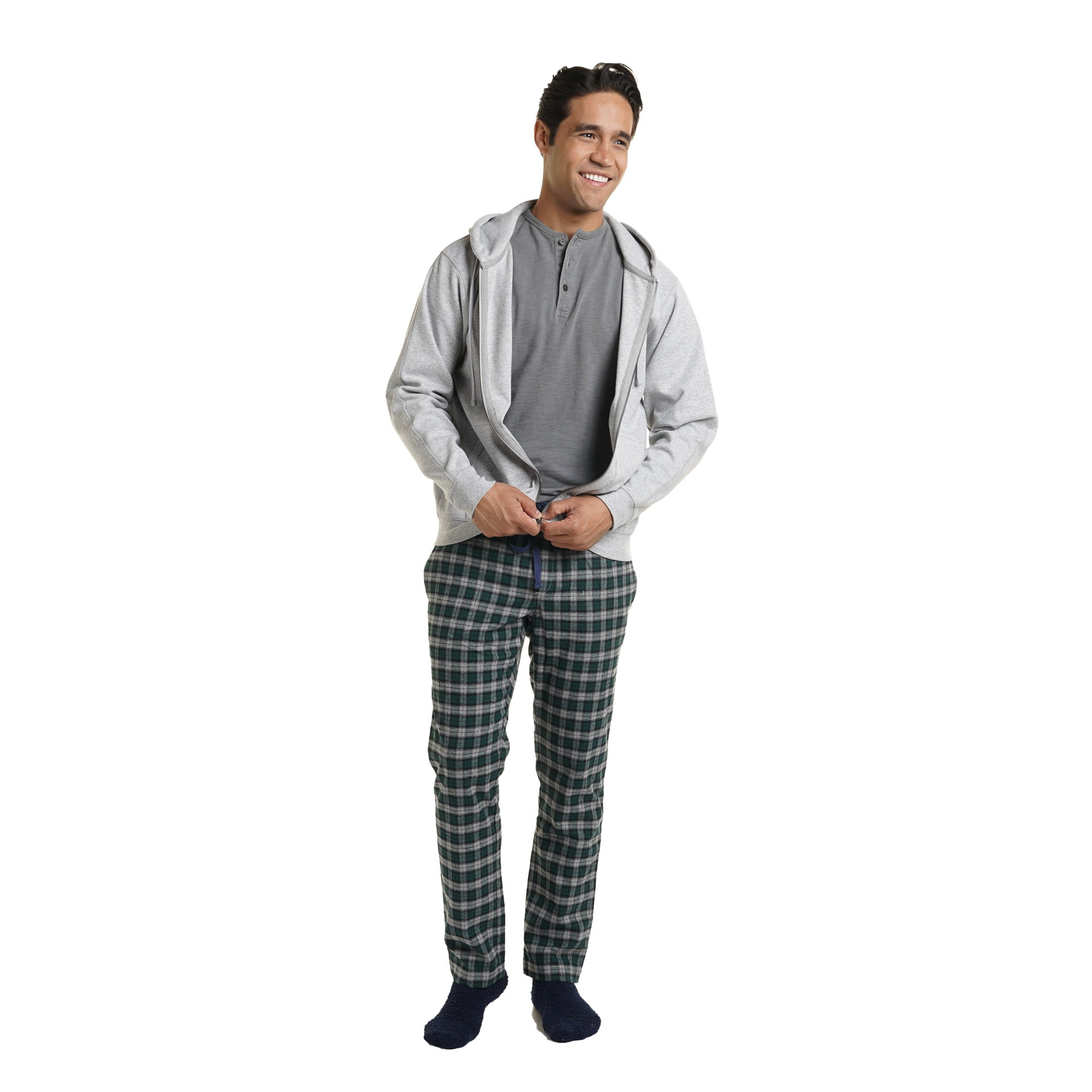 Pajama Pants - Grey Plaid Flannel