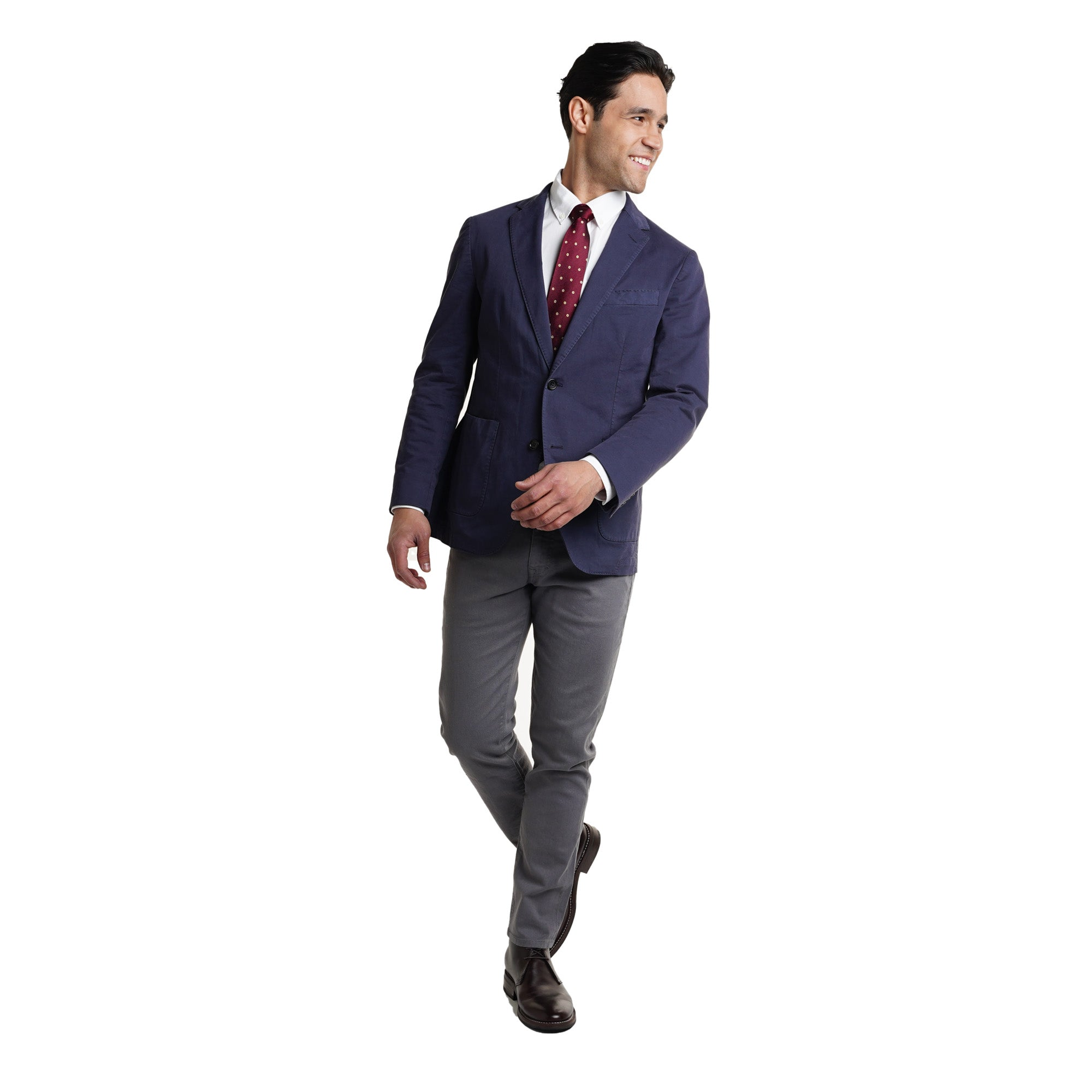Unstructured Cotton Blazers - Navy