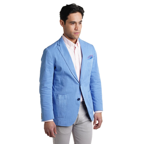Unstructured Cotton Blazers - Blue
