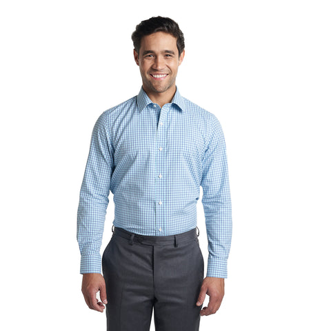 Non Iron Dress Shirt - Navy Aqua Check
