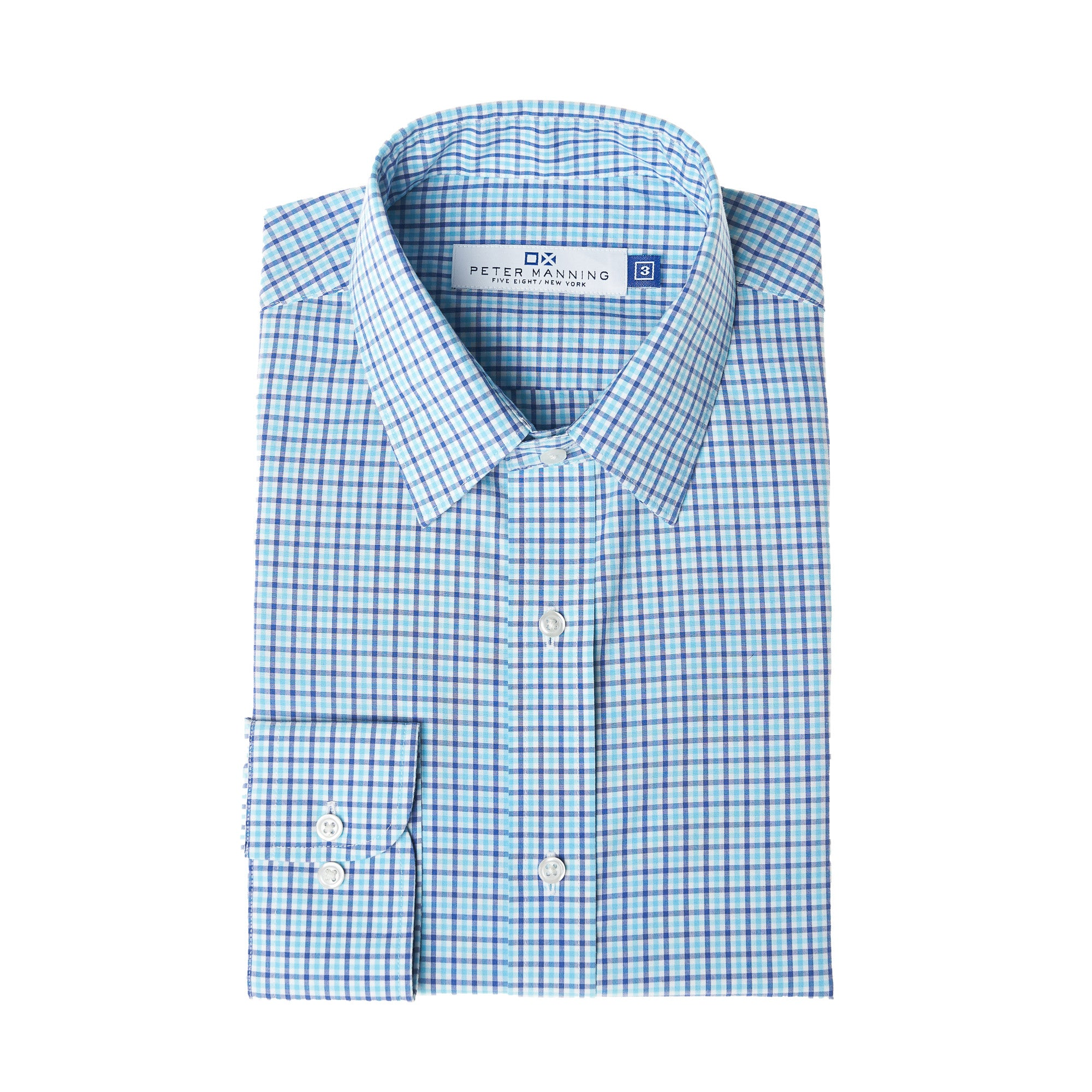 Easy Care Dress Shirt Standard Fit - Navy Aqua Check