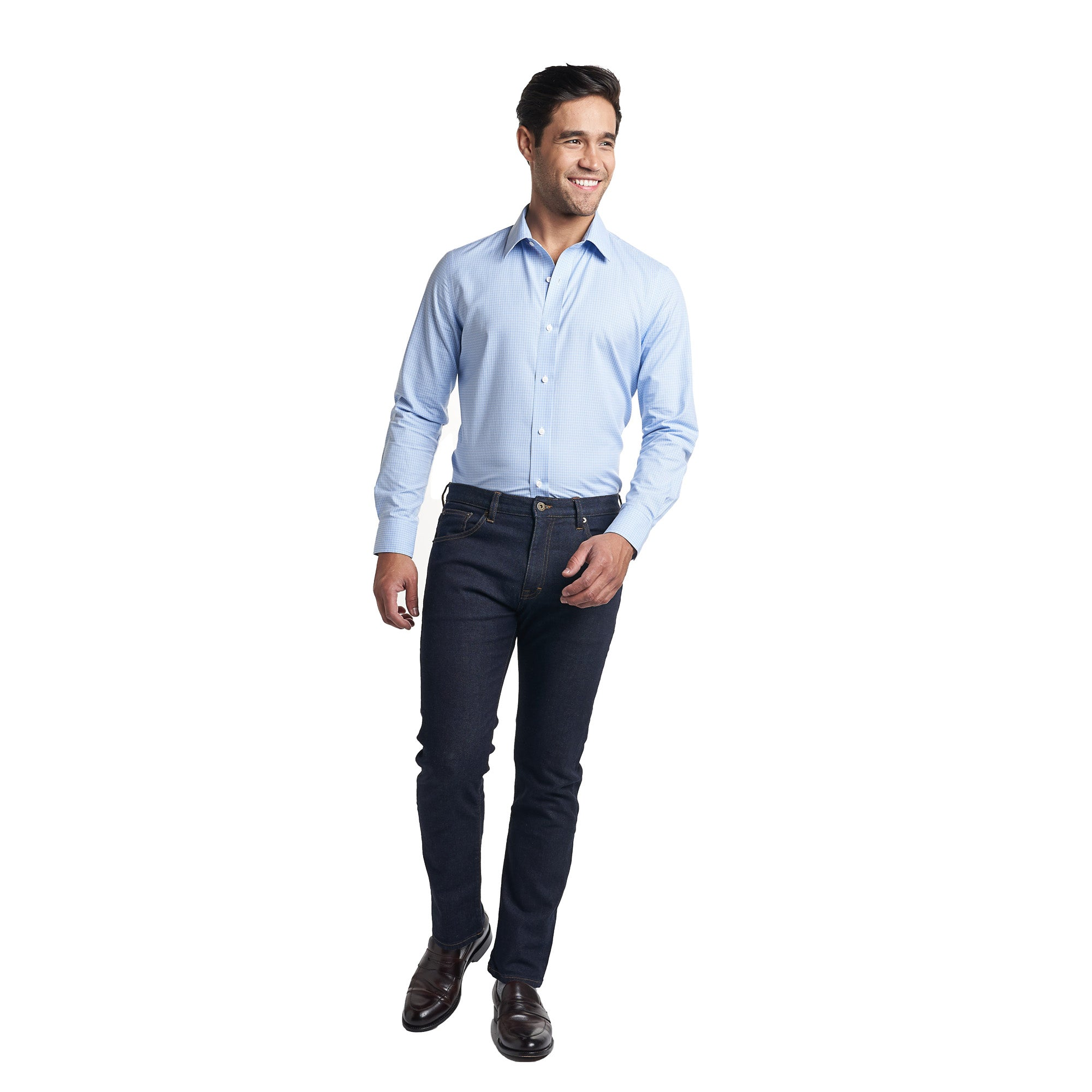 Easy Care Dress Shirt Standard Fit - Blue Microcheck