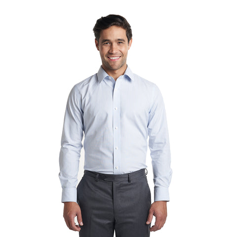 Non Iron Dress Shirt Standard Fit - Blue Pinstripe