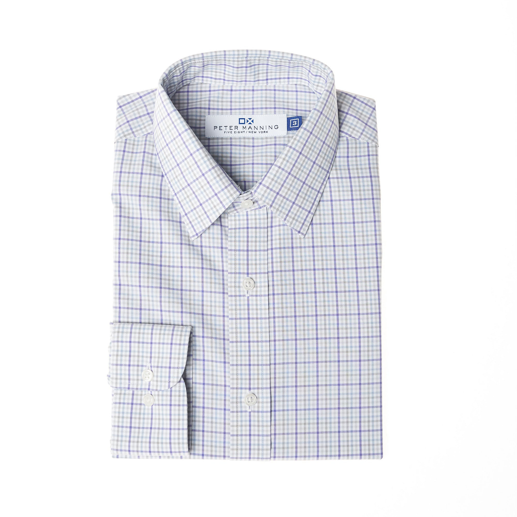 Non Iron Dress Shirt - Purple Olive Check