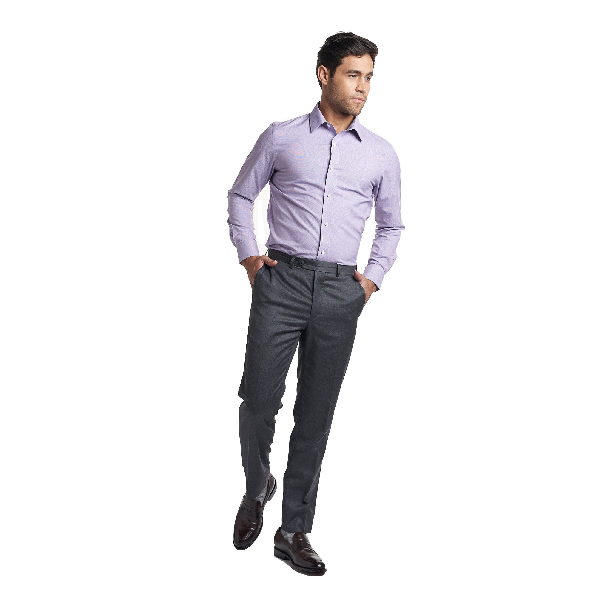 Easy Care Dress Shirt Standard Fit - Purple End On End