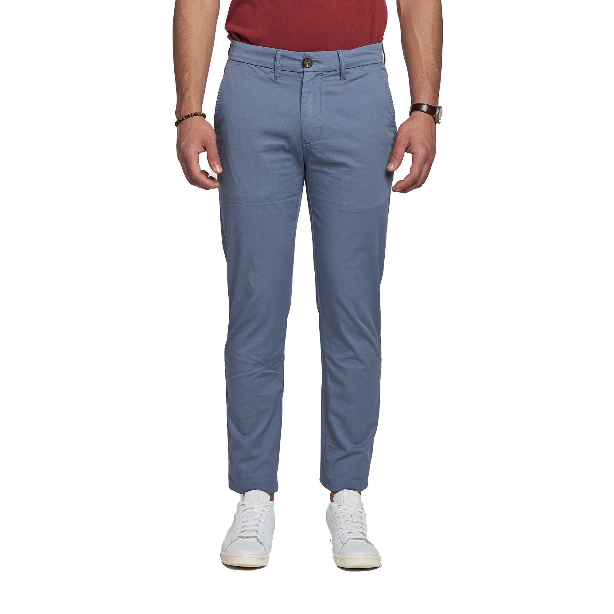 Lightweight Stretch Chinos - Slate Blue