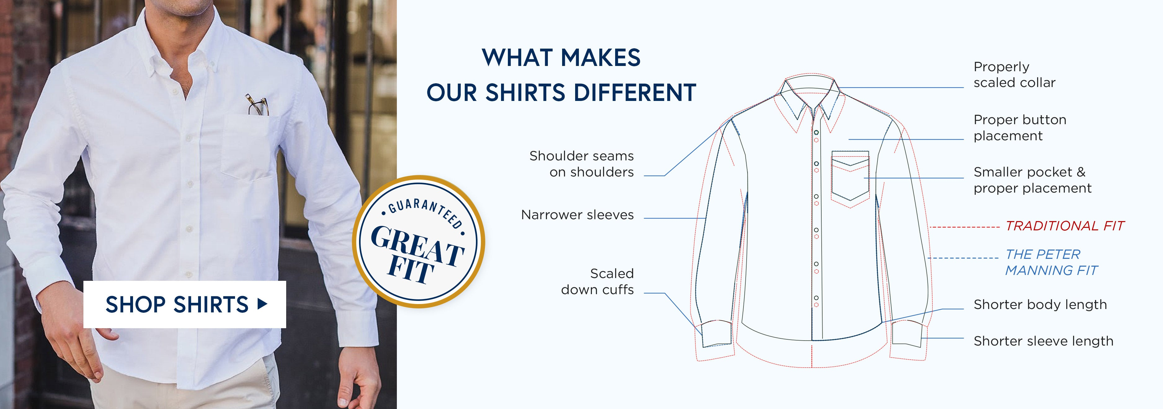 Find out what makes our shirts different - Shoulder Seams on Shoulders, Proper Button Placement, Properly Scaled Collar - Shop Pants